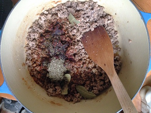 seasoning cooked beef for Glenn's chili