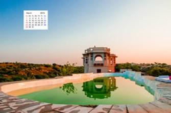 Zanana Mahal Lakshman Sagar Pool reflection Sunset