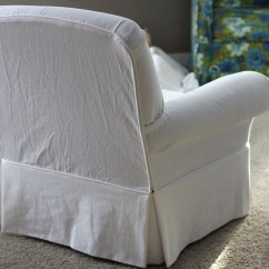 White Slipcover Chair And Ottoman Wheelchair Commode Twin Fibers Slipcovered
