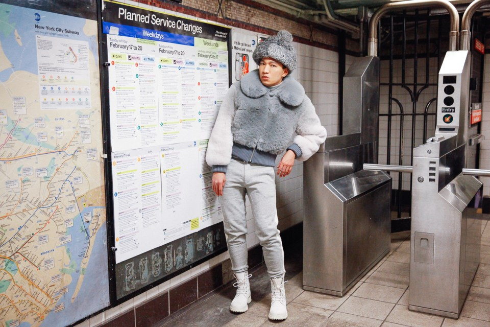 Fashion blogger Bryanboy at Rector Street subway station, New York City