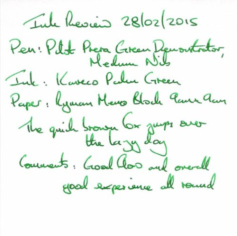Kaweco Palm Green Ink Review - Ryman Memo Block