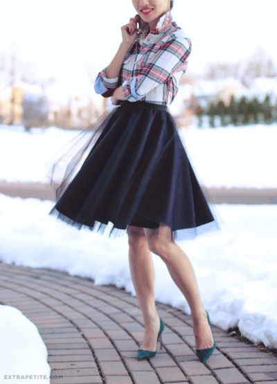 Flannel Fashion Green Red and White Plaid Shirt with DIY Black Tulle Skirt Green Pumps Snow Winter Landscape