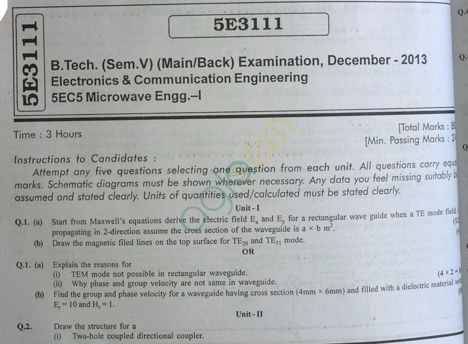 RTU: Question Papers 2013 - 5 Semester - EC - 5E3111