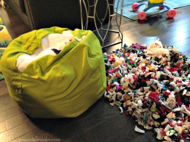 using knit fabric scraps as stuffing
