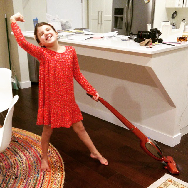 If only we could all be so joyful about vacuuming! #tobe8yearsold