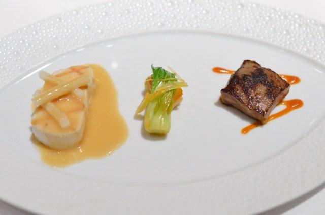 WHITE TUNA-KOBE BEEF Grilled Escolar and Seared Wagyu Beef; Fresh Kimchi, Asian Pear, Soy-Lemon Emulsion