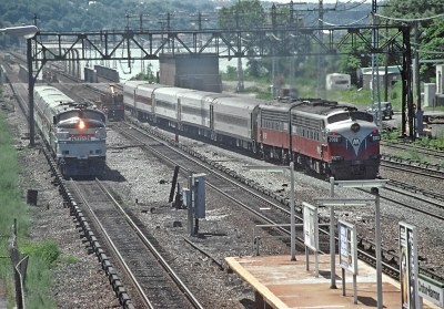 Amtrak FL9 and Metro North FL9s at Croton-Harmon -- 2 Photos
