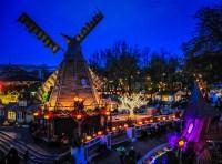 October Halloween at Tivoli Gardens entrance at night in ...