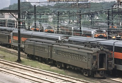 Cars from the 1920s and the 1970s occupy the ICG Chicago coach yard on August 20, 1976