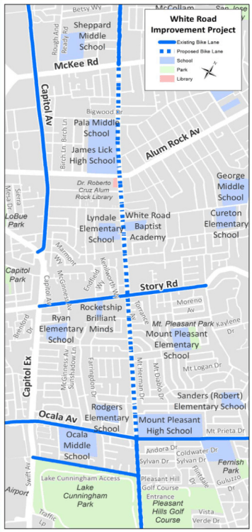 San Jose White Road Improvement Project Community Meeting announcement