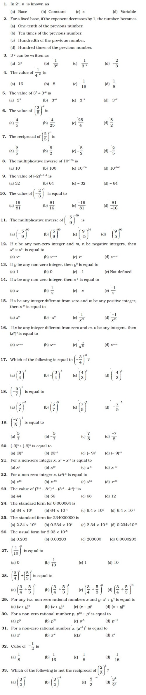 small resolution of Class 8 Important Questions for Maths – Exponents and Powers   AglaSem  Schools
