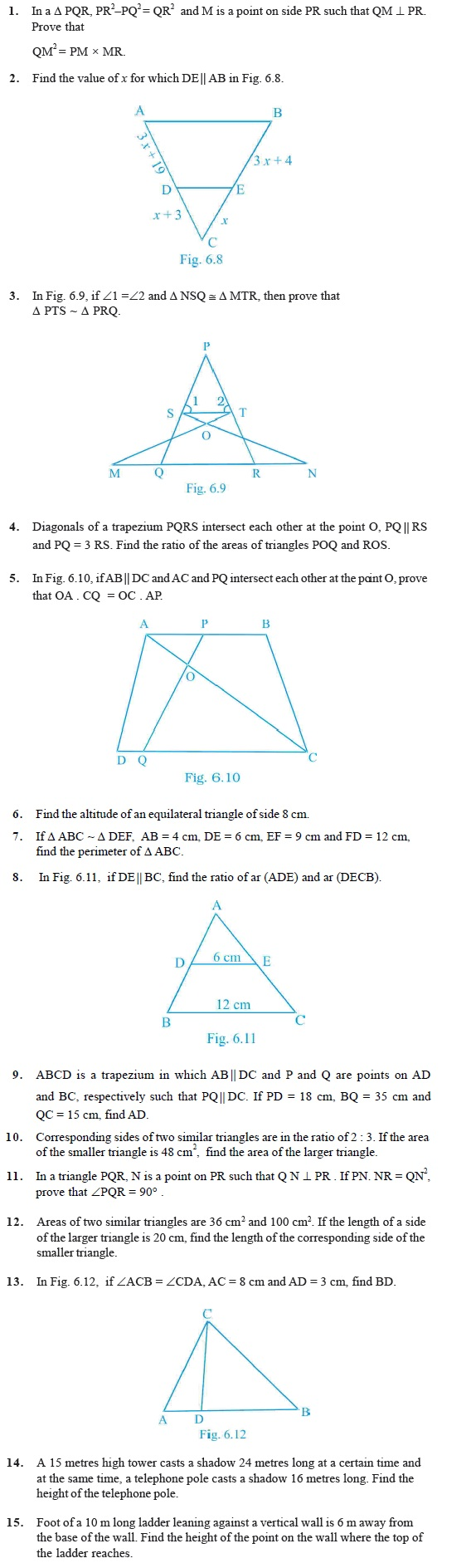 hight resolution of Class 10 Important Questions for Maths - Triangles   AglaSem Schools