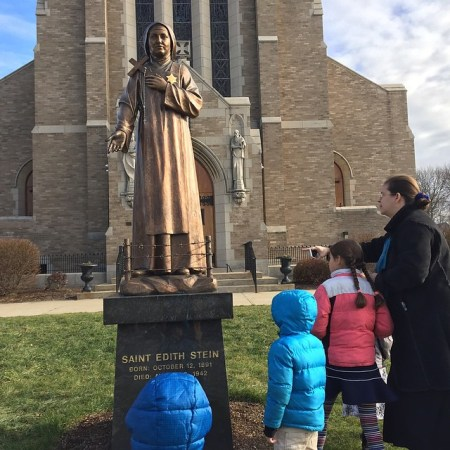 We find ourselves back at St. Edith Stein Church. They have this lively statue.