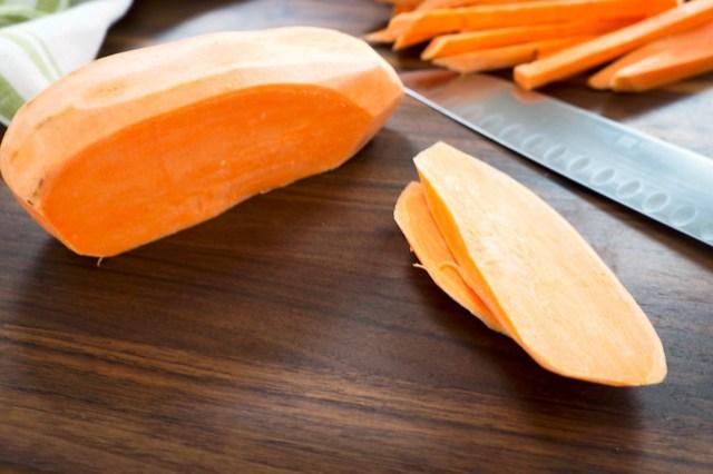 cut sweet potato for fries