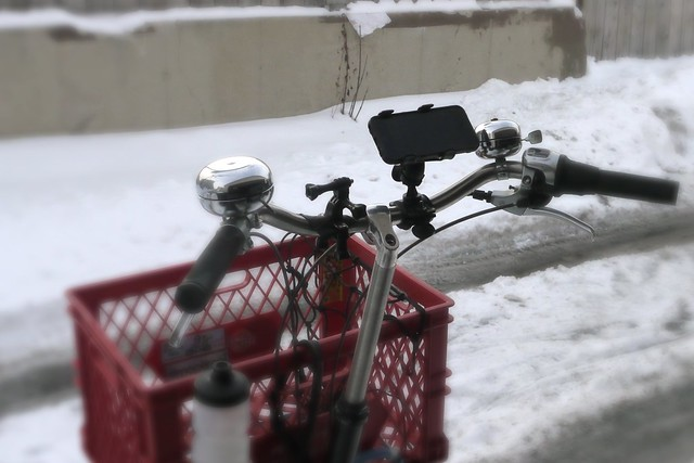 Smartphone mount holding an iPhone on a bicycle