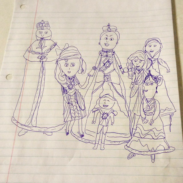 My 8 year old has been studying the Russian Revolution, the Bolsheviks, and the Romanovs. Here is her doodle portrait of the Romanov family...all five children plus mom and dad. She knows all their names and their stories...I don't! Lol. #shecouldteachme