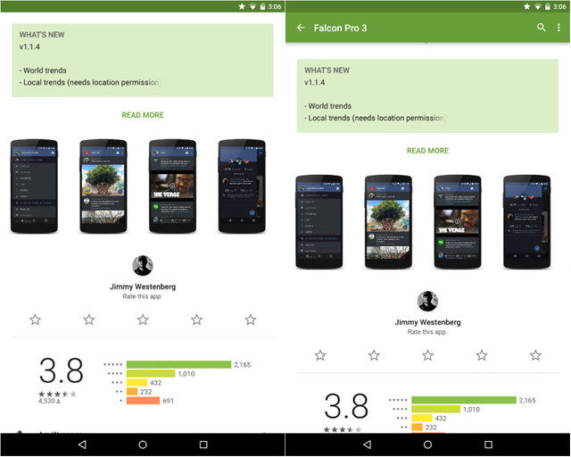 Google Play Store UI