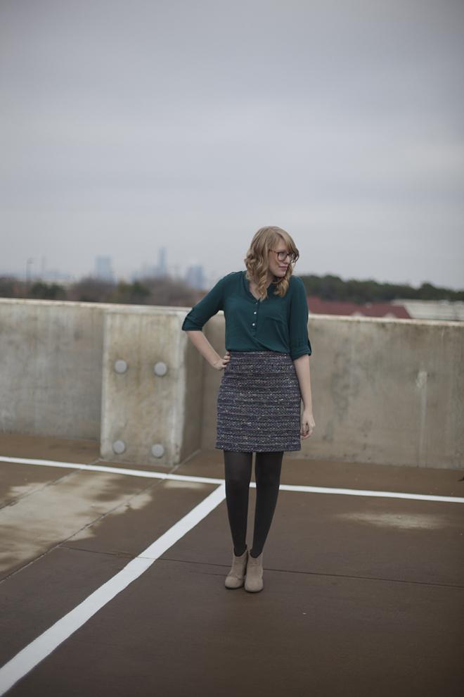 jewel tone tweed skirt