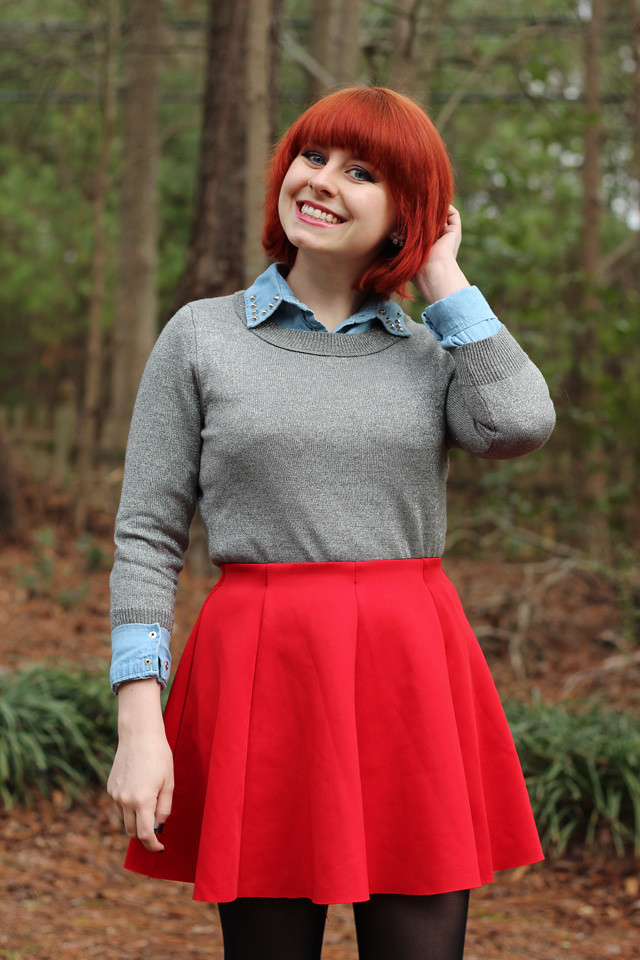 Outfit Red Skater Skirt Silver Sweater over a Denim