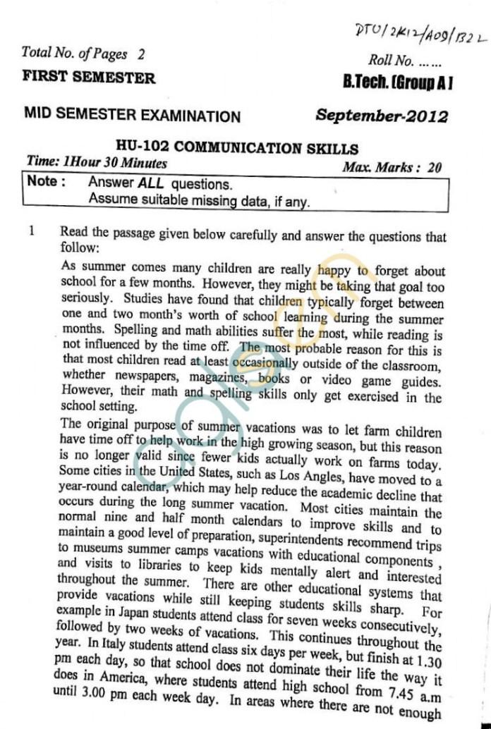 DTU: Question Papers 2012 – 1 Semester - Mid Sem - HU-102