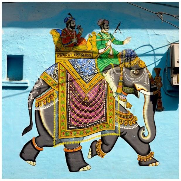Casa pintura elefante Udaipur