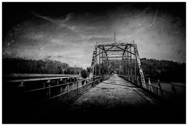 Old Parkers Ferry Bridge Creased B&W photo