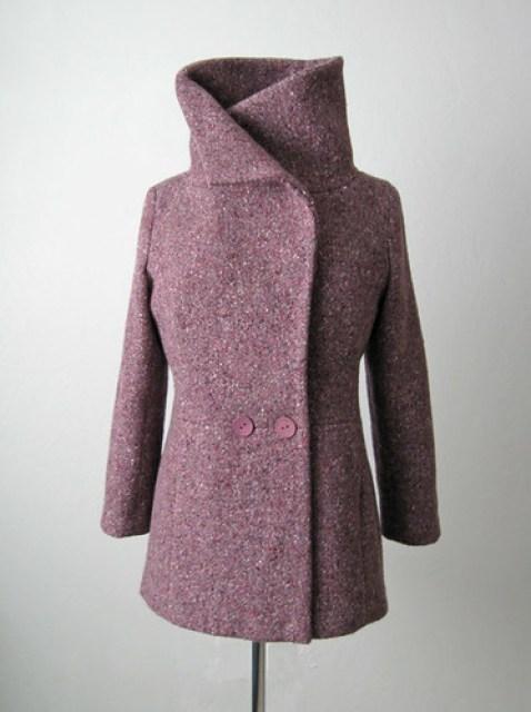 Burda plum coat collar up