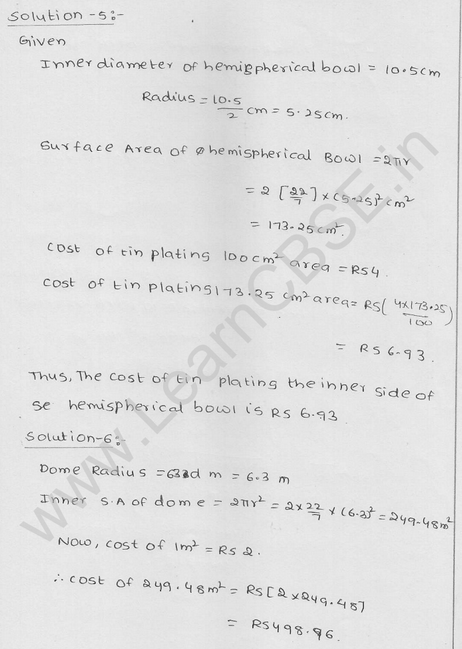 RD Sharma Class 9 solutions Chapter 21 Surface Area and