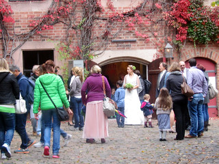 Wedding Party inside courtyard in Nuremburg