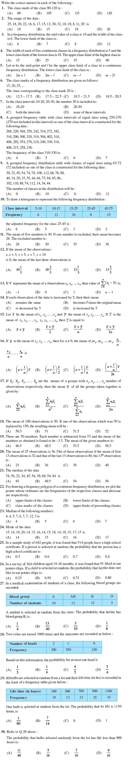 small resolution of Class 9 Important Questions for Maths - Statistics and Probability    AglaSem Schools