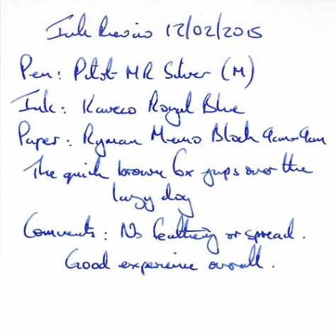 Kaweco Royal Blue Ink Review - Ryman Memo Block