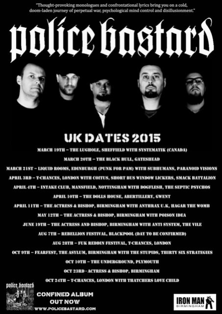 Police Bastard - Tour Dates Flyer 2015