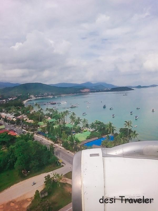 Plane landing Koh Samui Airport