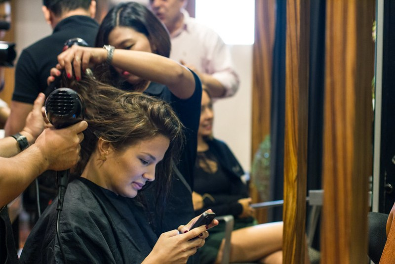 Bianca Elizalde at Aveda salon