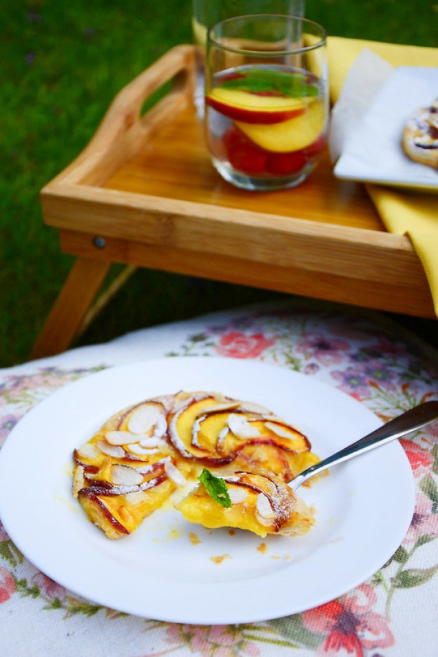 Beautiful Peach and Marzipan Puff Pastry Galette