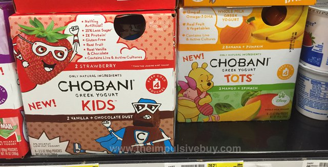 Chobani Kids Strawberry and Vanilla + Chocolate Dust and Chobani Tots Banana + Pumpkin and Mango + Spinach