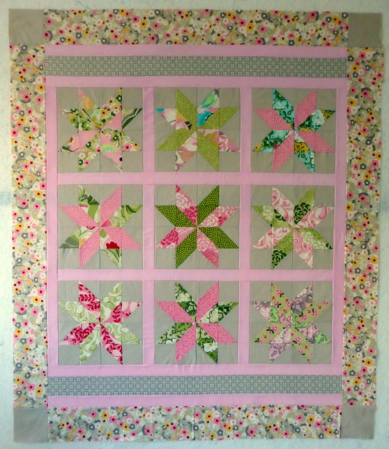 Star baby quilt top