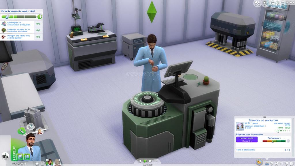 Les Sims 4 au travail scientifique
