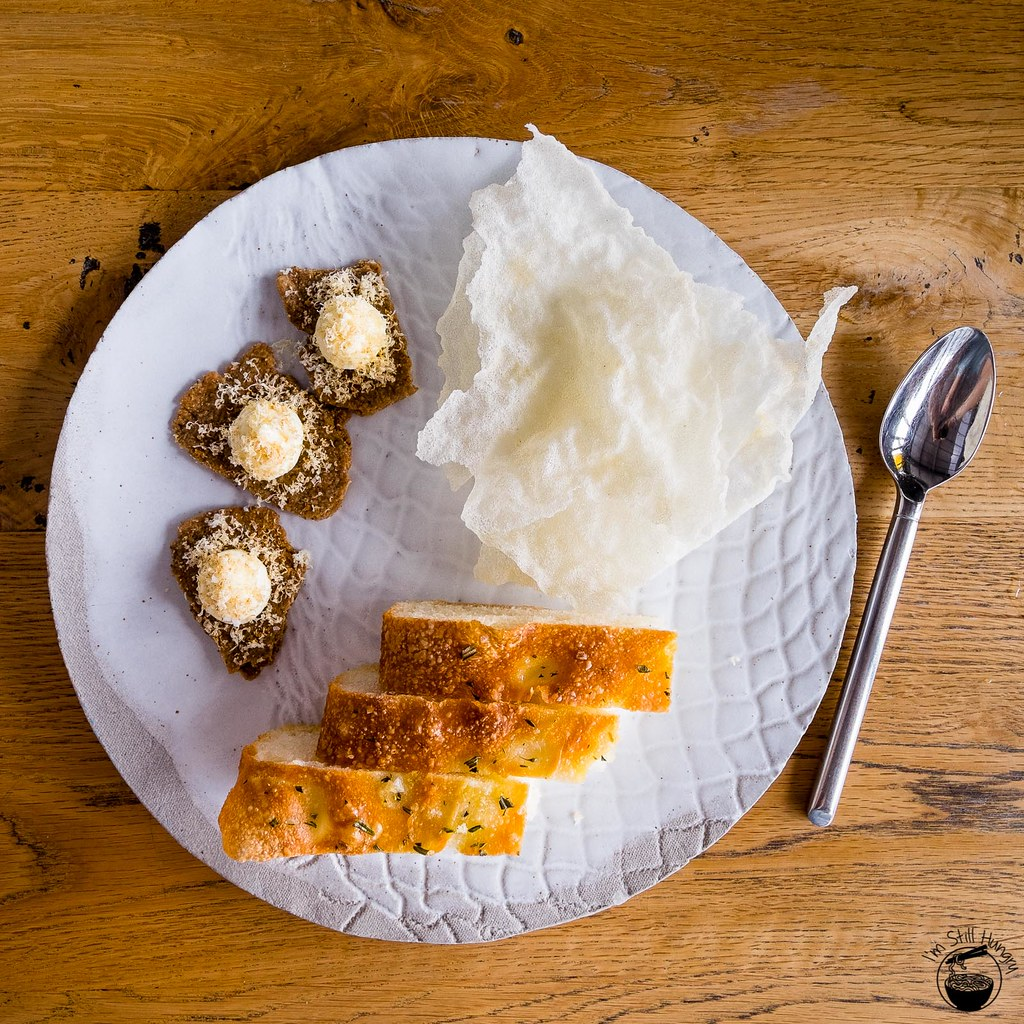 LuMi Dining Pyrmont Salt & vinegar rice chips; porcini brisee w/mascarpone & walnut; potato & rosemary focaccia