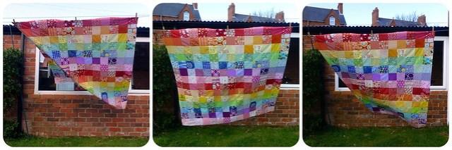 Scrappy Rainbow Quilt top