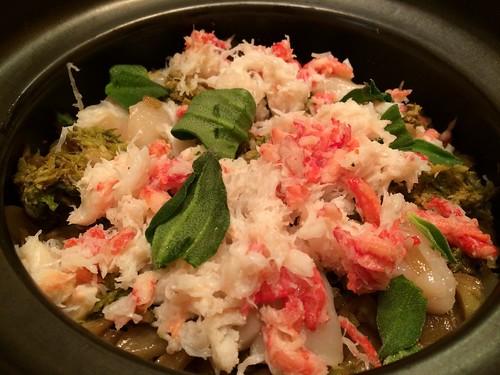 蟹とふきのとうの土鍋ご飯@新橋 堤
