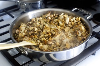 cooking down the mushrooms, with steam
