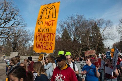 Fast food strike and protest for a $15/hour minimum wage at the University of Minnesota