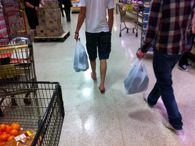 barefoot in supermarket