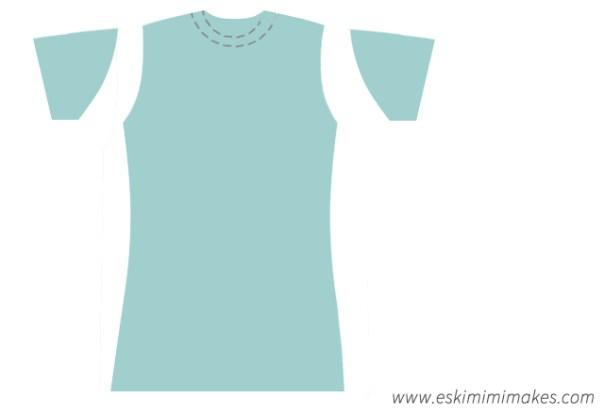 Modified t-shirt shape, ready to sew