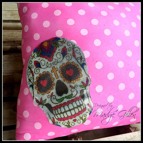 Sugar Skull Bling Pillow Buckle Boutique Designed by Madge Gillen