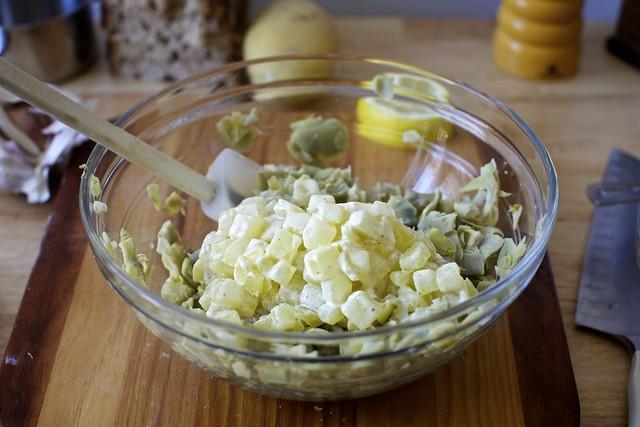 creamed potatoes + lemony artichokes
