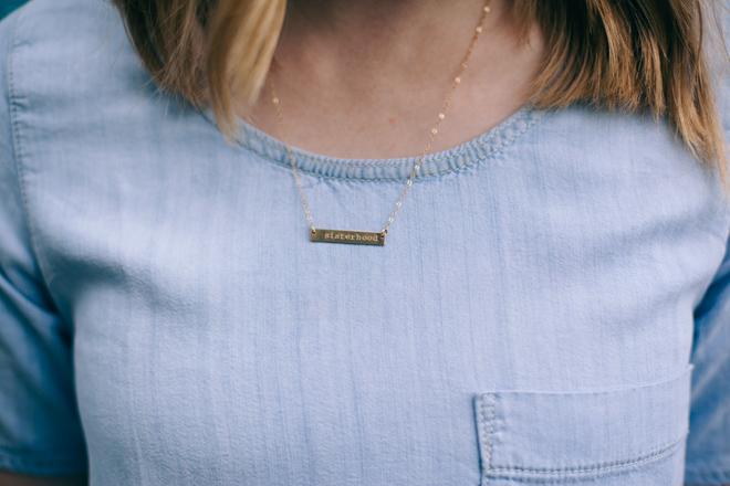 Sisterhood bar necklace by Betsy Farmer Designs