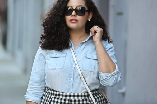 (plus size) Chambray and Gingham Skirt