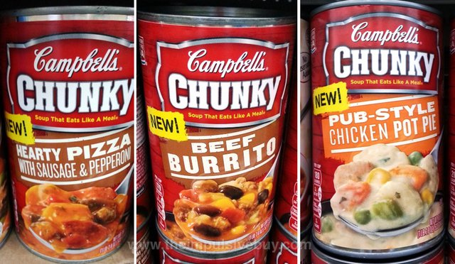 Campbell's Chunky Hearty Pizza with Sausage & Pepperoni, Beef Burrito, and Pub-Style Chicken Pot Pie Soup
